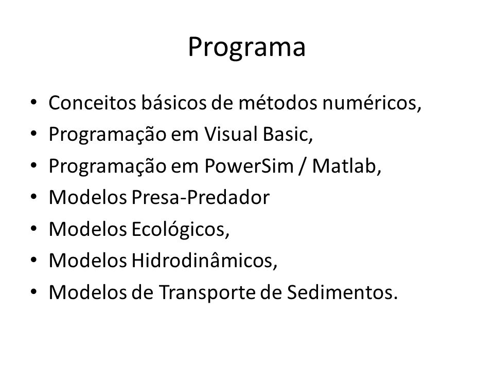 Programa Conceitos básicos de métodos numéricos,