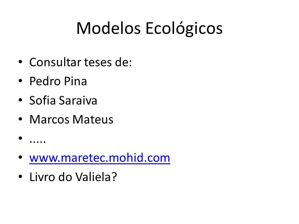 Modelos Ecológicos Consultar teses de: Pedro Pina Sofia Saraiva