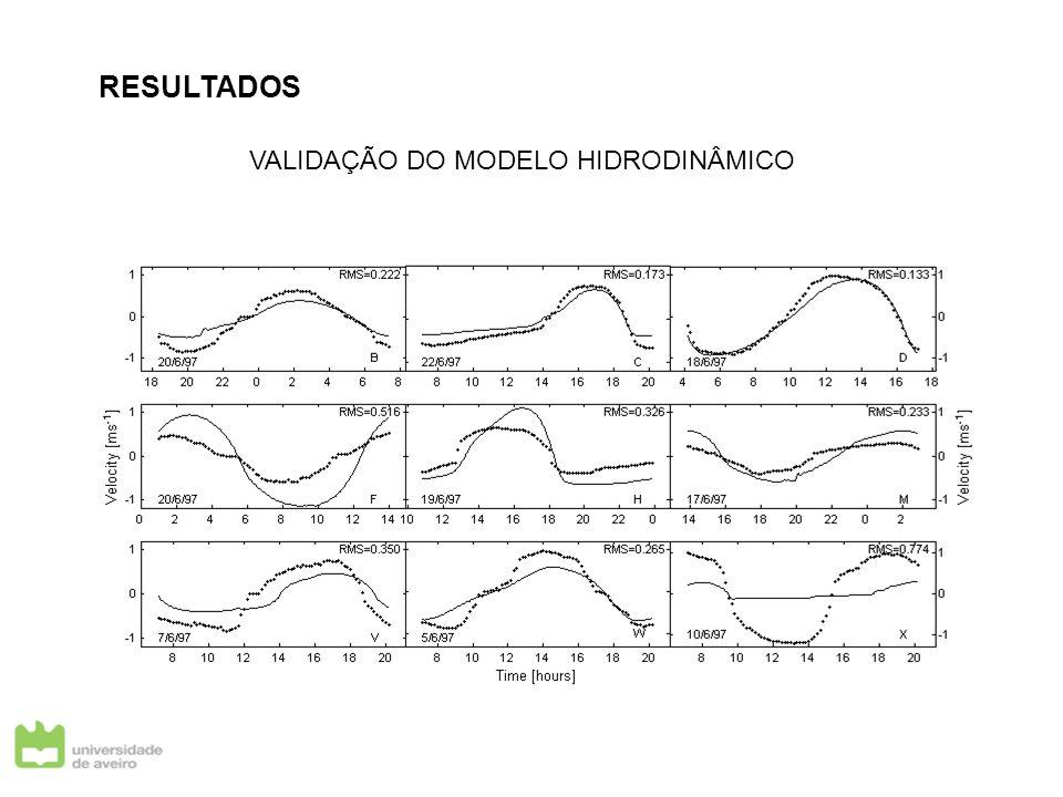 RESULTADOS VALIDAÇÃO DO MODELO HIDRODINÂMICO