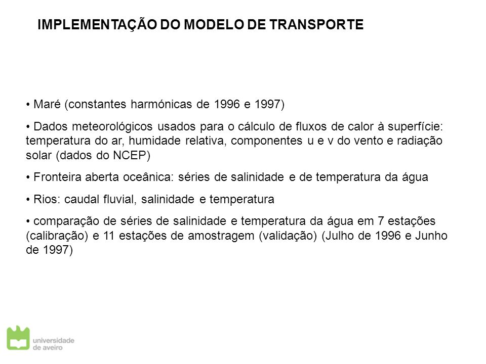 IMPLEMENTAÇÃO DO MODELO DE TRANSPORTE