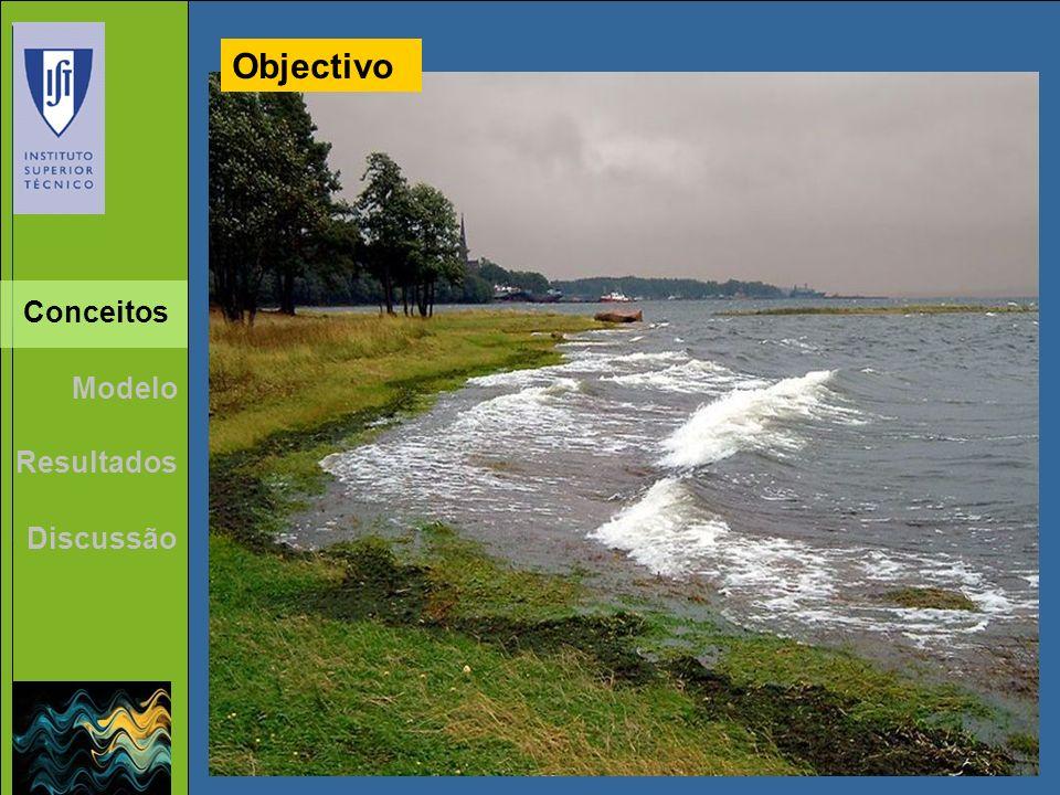 Objectivo Qualidade Água Ondas Conceitos Modelo Resultados Discussão