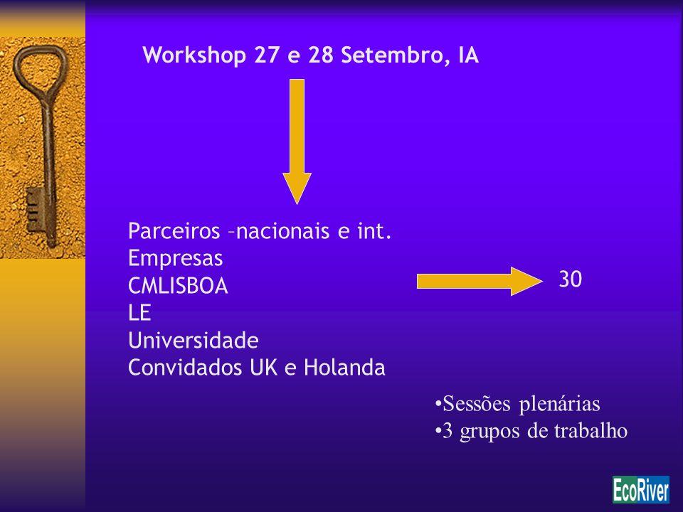Workshop 27 e 28 Setembro, IA Parceiros –nacionais e int. Empresas. CMLISBOA. LE. Universidade.