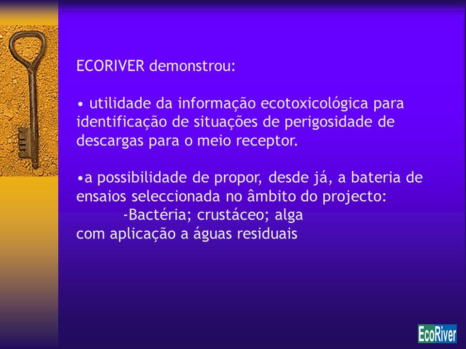 ECORIVER demonstrou: utilidade da informação ecotoxicológica para identificação de situações de perigosidade de descargas para o meio receptor.