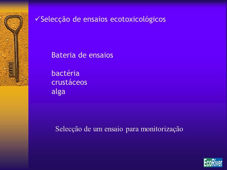 Selecção de ensaios ecotoxicológicos