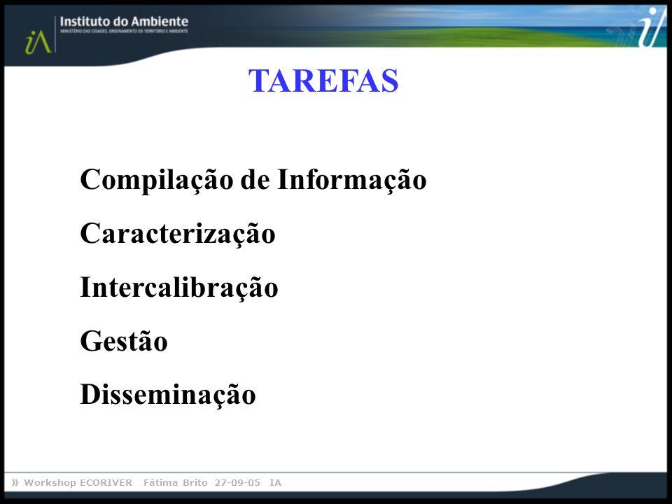 TAREFAS Compilação de Informação Caracterização Intercalibração Gestão