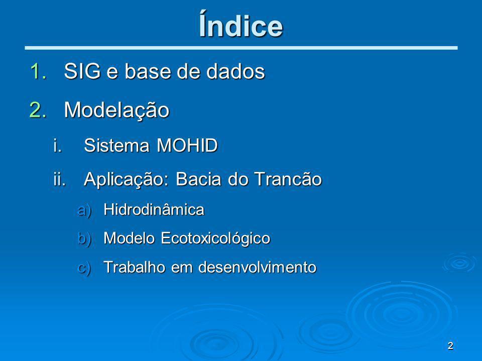 Índice SIG e base de dados Modelação Sistema MOHID