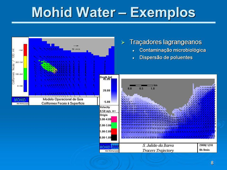 Mohid Water – Exemplos Traçadores lagrangeanos