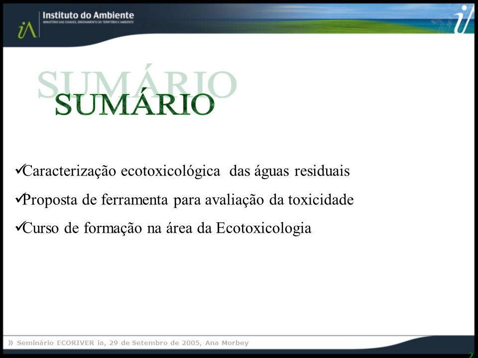 SUMÁRIO Caracterização ecotoxicológica das águas residuais