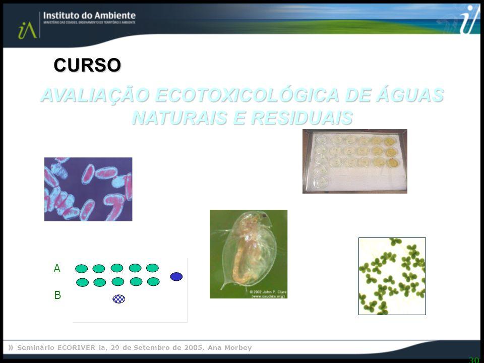 AVALIAÇÃO ECOTOXICOLÓGICA DE ÁGUAS NATURAIS E RESIDUAIS