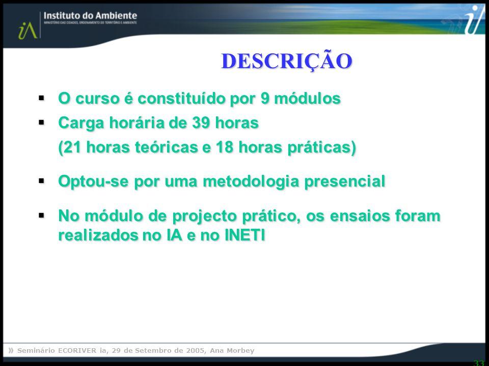 DESCRIÇÃO O curso é constituído por 9 módulos