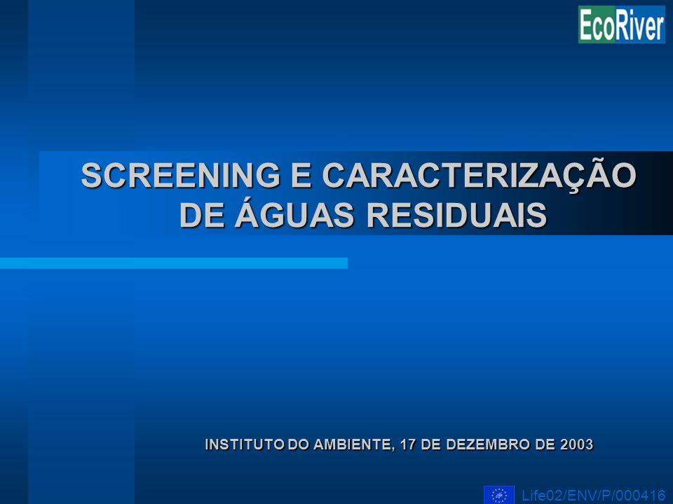 SCREENING E CARACTERIZAÇÃO DE ÁGUAS RESIDUAIS