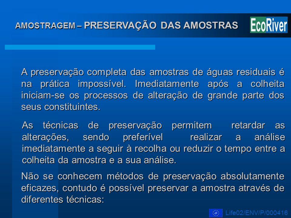 AMOSTRAGEM – PRESERVAÇÃO DAS AMOSTRAS