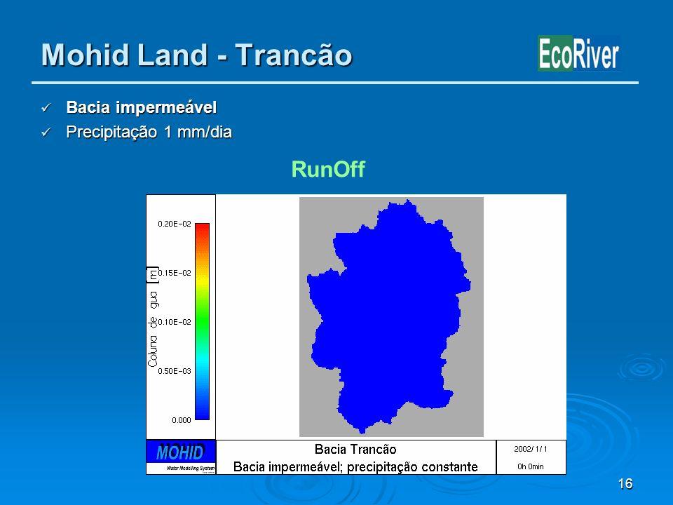 Mohid Land - Trancão Bacia impermeável Precipitação 1 mm/dia RunOff
