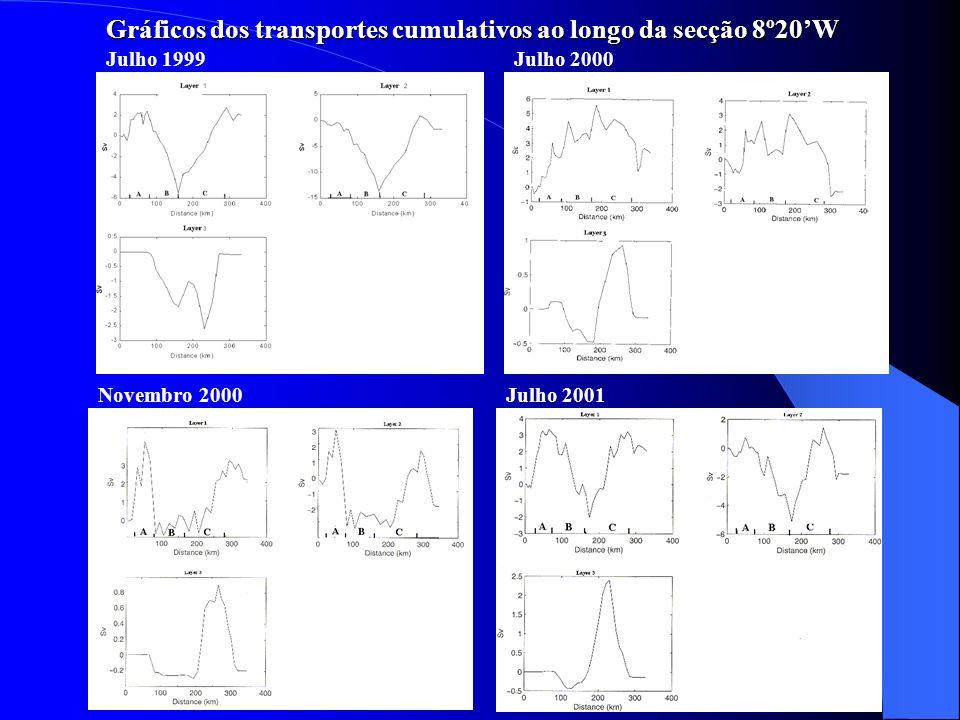 Gráficos dos transportes cumulativos ao longo da secção 8º20'W