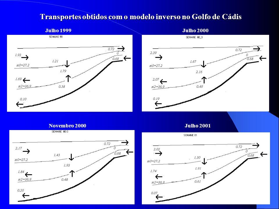 Transportes obtidos com o modelo inverso no Golfo de Cádis