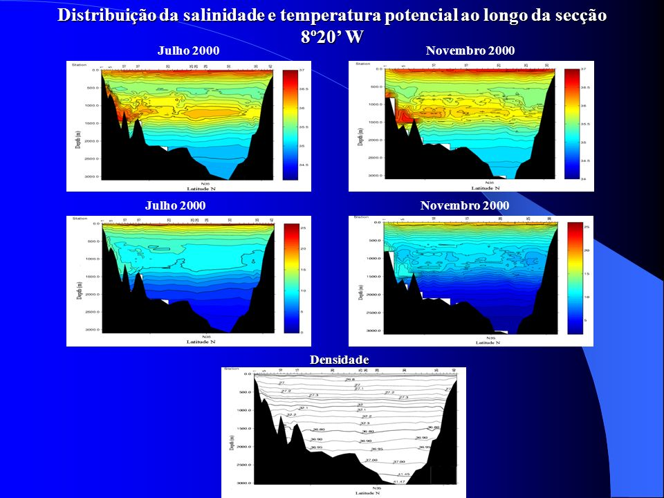 Distribuição da salinidade e temperatura potencial ao longo da secção 8º20' W