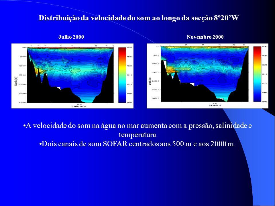 Distribuição da velocidade do som ao longo da secção 8º20'W