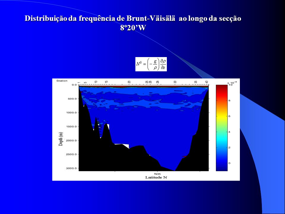Distribuição da frequência de Brunt-Väisälä ao longo da secção 8º20'W