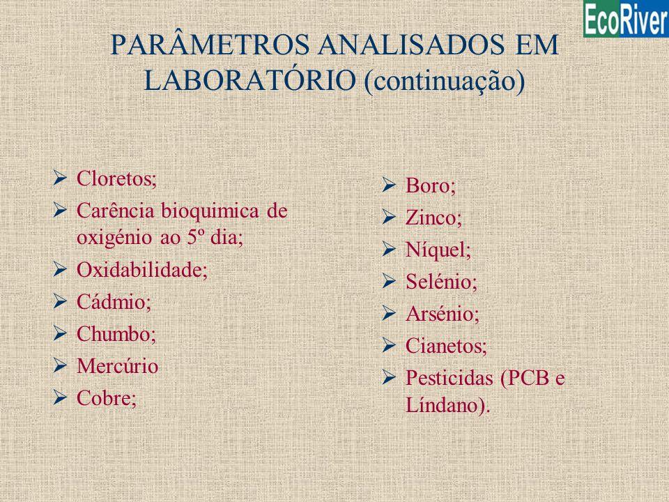 PARÂMETROS ANALISADOS EM LABORATÓRIO (continuação)