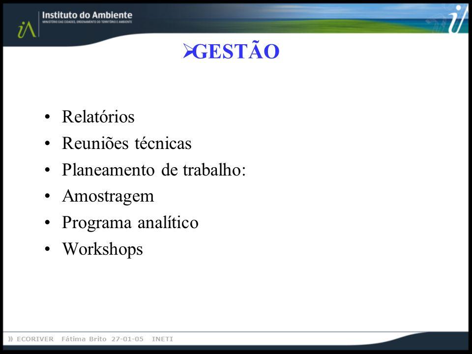 GESTÃO Relatórios Reuniões técnicas Planeamento de trabalho: