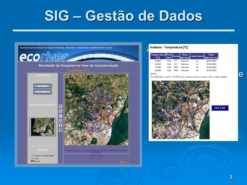 SIG – Gestão de Dados Base de Dados Georeferenciada: