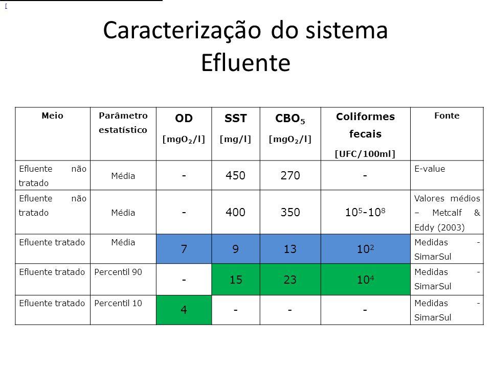Caracterização do sistema Efluente