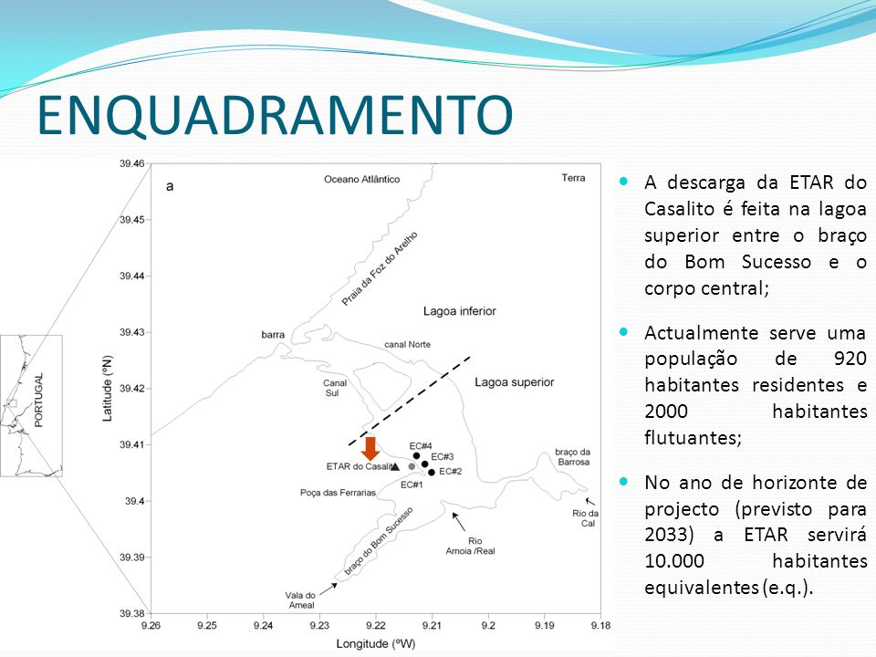 ENQUADRAMENTOA descarga da ETAR do Casalito é feita na lagoa superior entre o braço do Bom Sucesso e o corpo central;