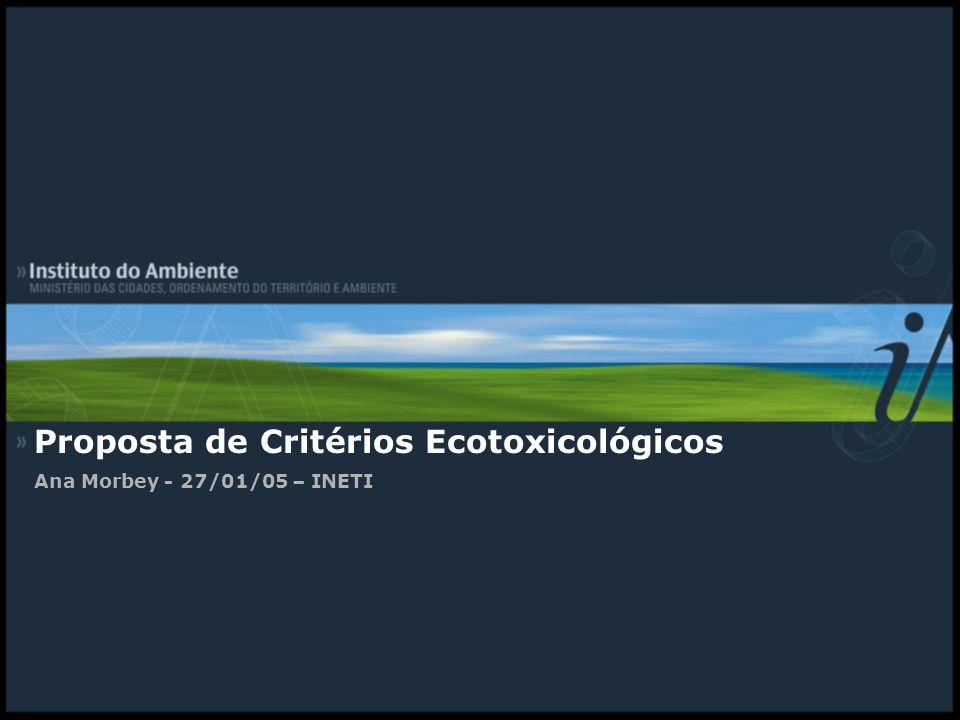 Proposta de Critérios Ecotoxicológicos