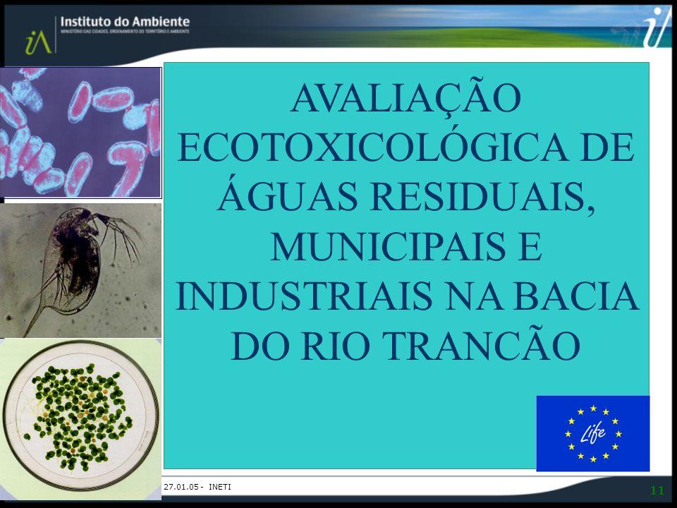 AVALIAÇÃO ECOTOXICOLÓGICA DE ÁGUAS RESIDUAIS, MUNICIPAIS E INDUSTRIAIS NA BACIA DO RIO TRANCÃO