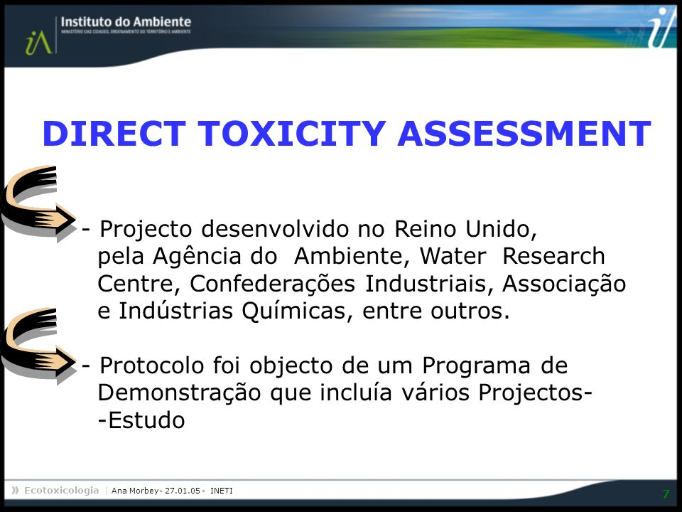 DIRECT TOXICITY ASSESSMENT