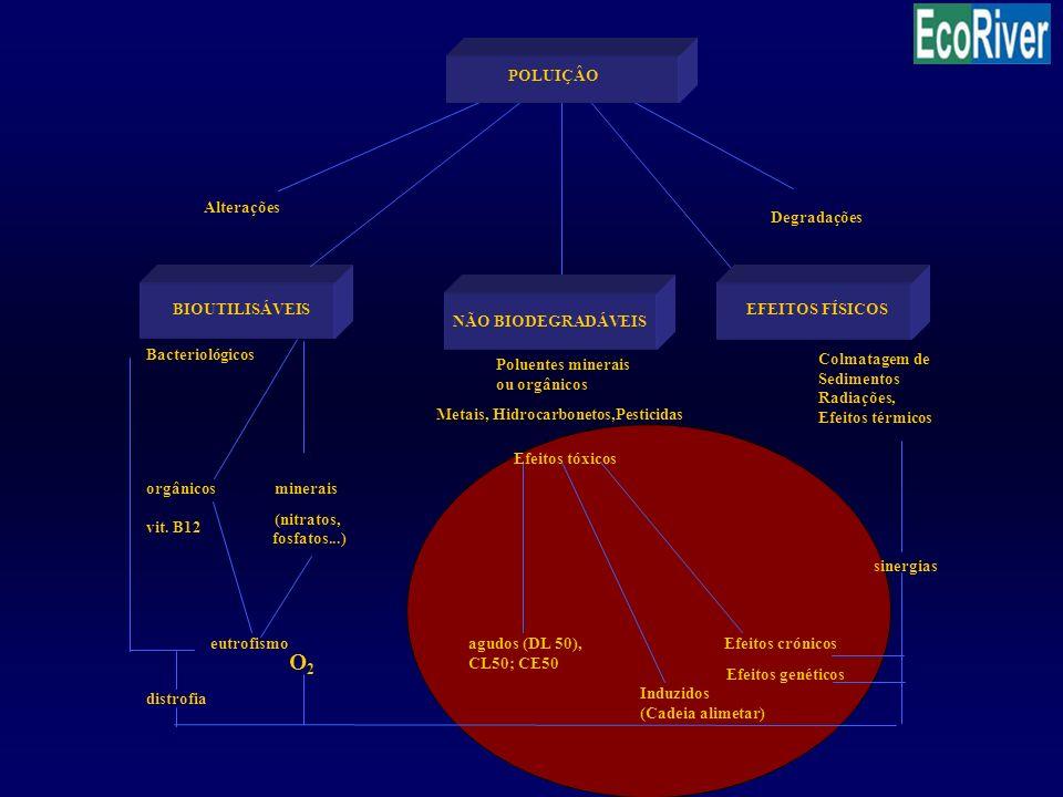 O2 Degradações BIOUTILISÁVEIS Bacteriológicos Poluentes minerais
