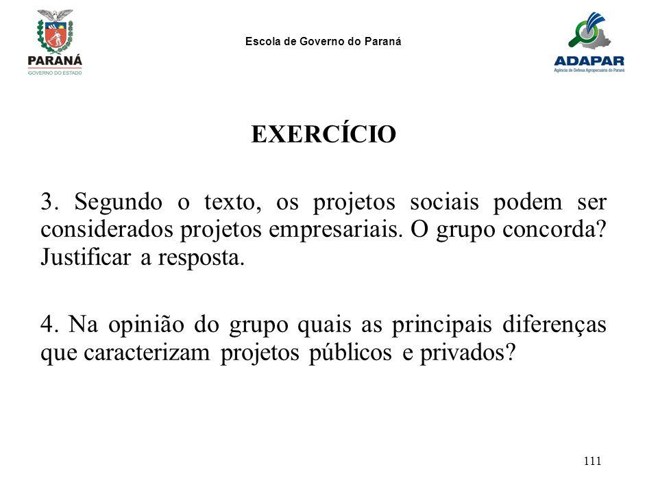 EXERCÍCIO 3. Segundo o texto, os projetos sociais podem ser considerados projetos empresariais. O grupo concorda Justificar a resposta.