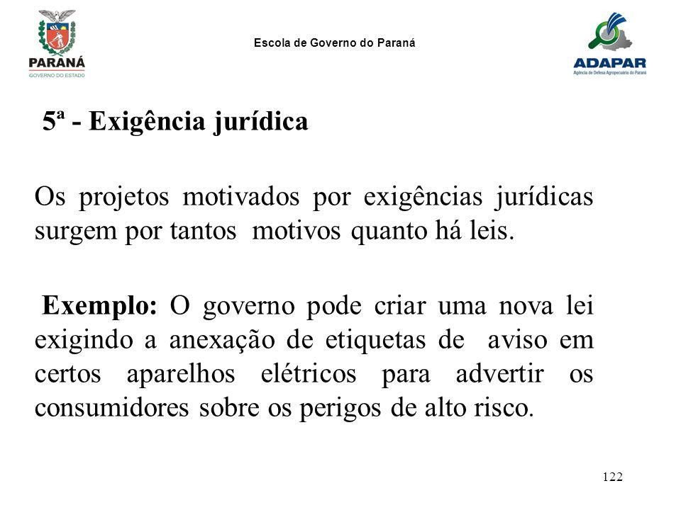5ª - Exigência jurídica Os projetos motivados por exigências jurídicas surgem por tantos motivos quanto há leis.