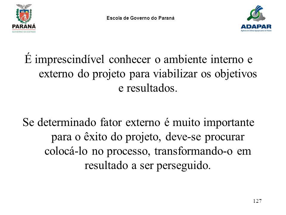 É imprescindível conhecer o ambiente interno e externo do projeto para viabilizar os objetivos e resultados.