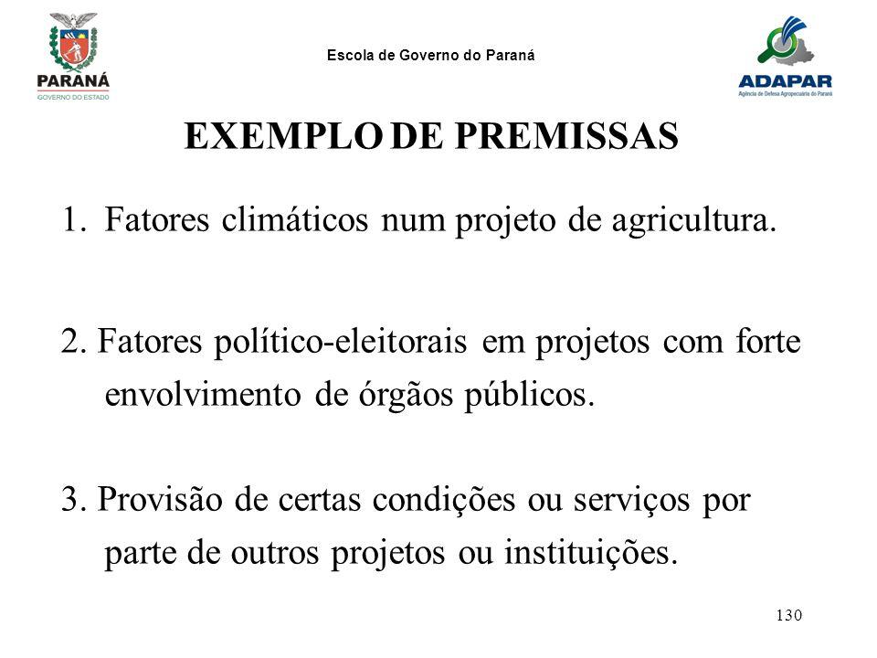 EXEMPLO DE PREMISSAS Fatores climáticos num projeto de agricultura.