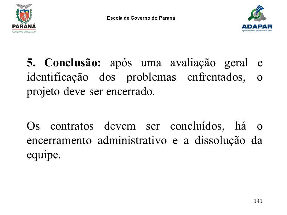 5. Conclusão: após uma avaliação geral e identificação dos problemas enfrentados, o projeto deve ser encerrado.