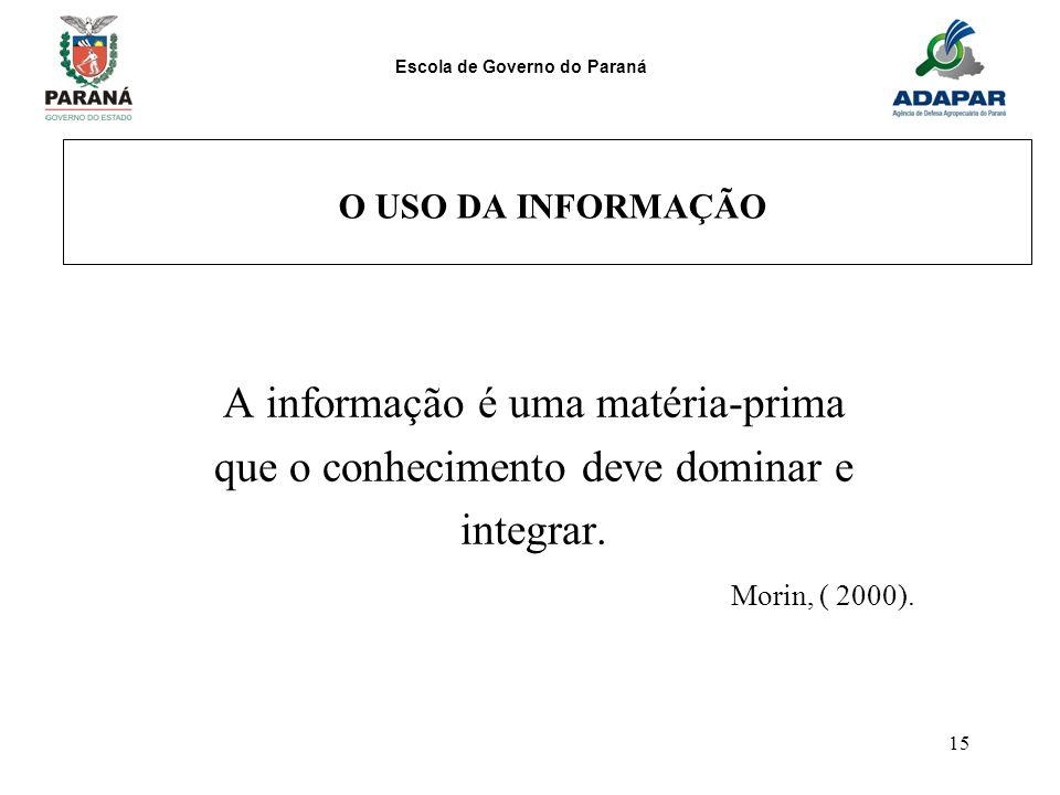 A informação é uma matéria-prima que o conhecimento deve dominar e