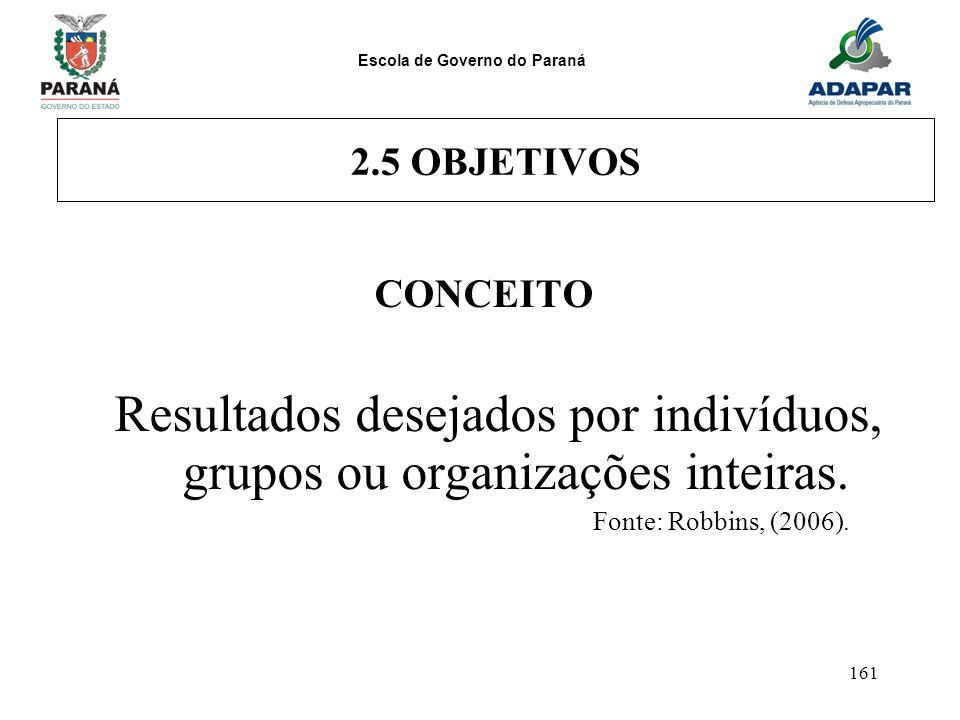 Resultados desejados por indivíduos, grupos ou organizações inteiras.