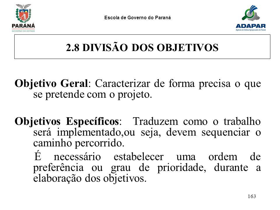 2.8 DIVISÃO DOS OBJETIVOS Objetivo Geral: Caracterizar de forma precisa o que se pretende com o projeto.