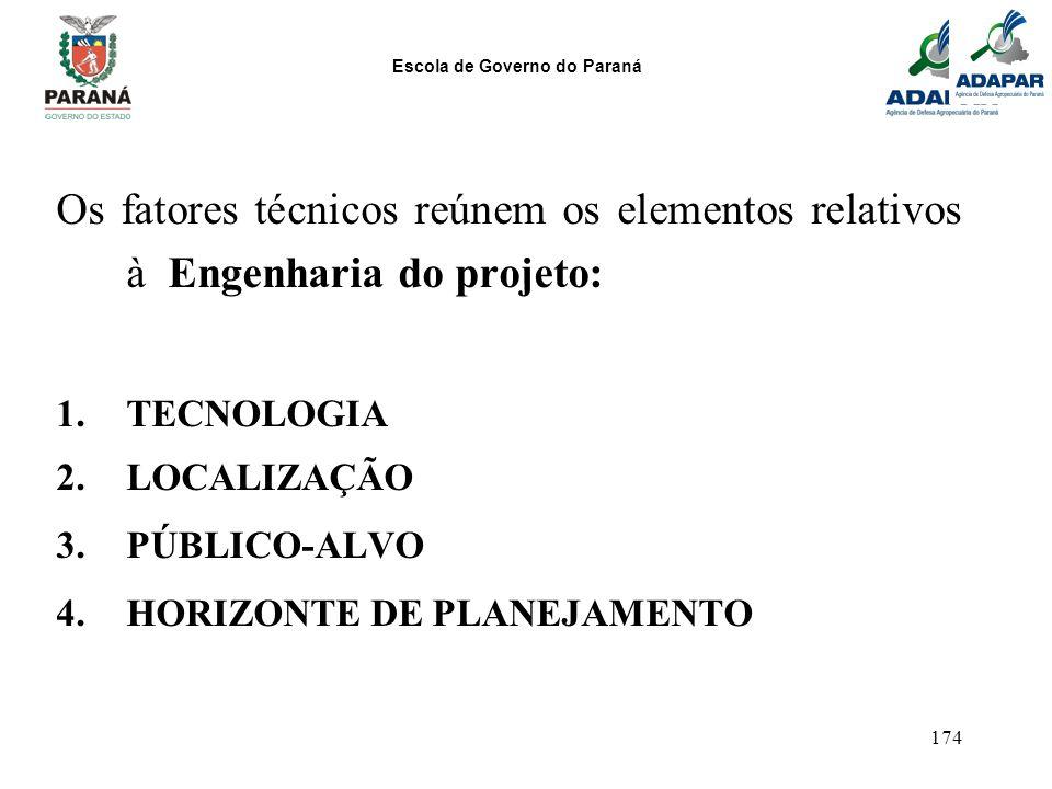Os fatores técnicos reúnem os elementos relativos à Engenharia do projeto: