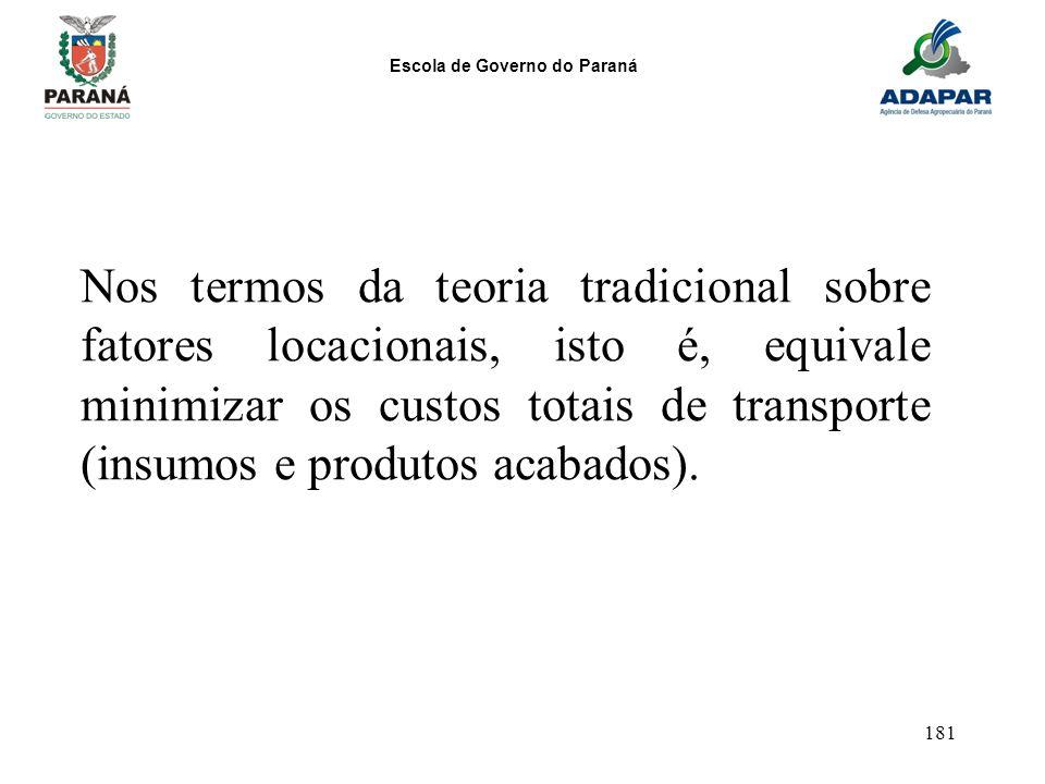 Nos termos da teoria tradicional sobre fatores locacionais, isto é, equivale minimizar os custos totais de transporte (insumos e produtos acabados).