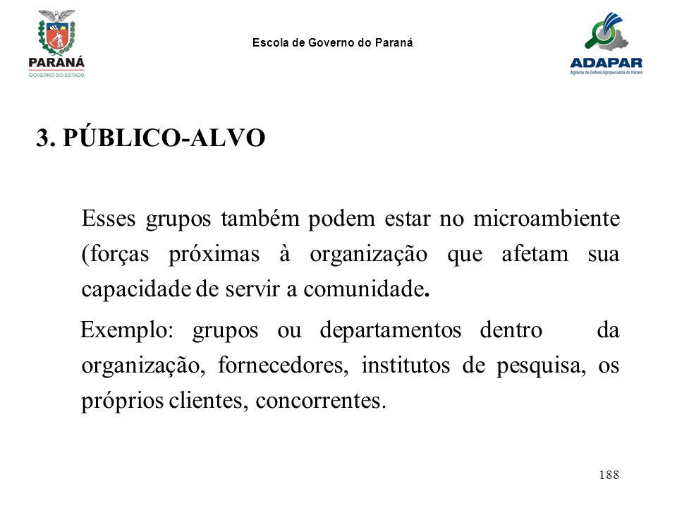 3. PÚBLICO-ALVO Esses grupos também podem estar no microambiente (forças próximas à organização que afetam sua capacidade de servir a comunidade.