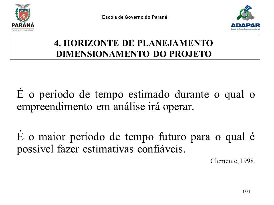 4. HORIZONTE DE PLANEJAMENTO DIMENSIONAMENTO DO PROJETO