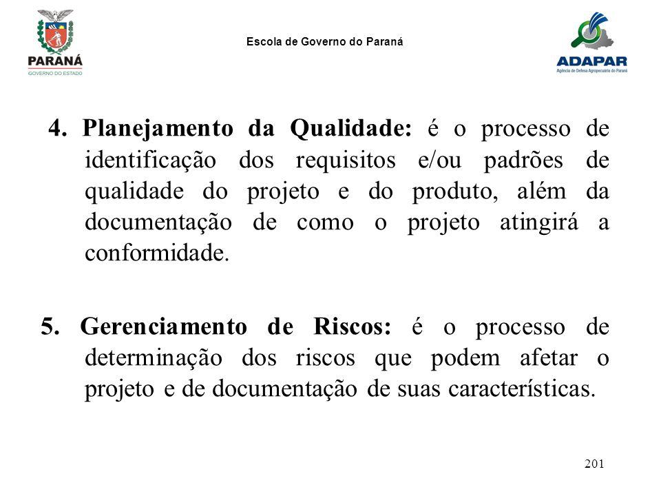 4. Planejamento da Qualidade: é o processo de identificação dos requisitos e/ou padrões de qualidade do projeto e do produto, além da documentação de como o projeto atingirá a conformidade.