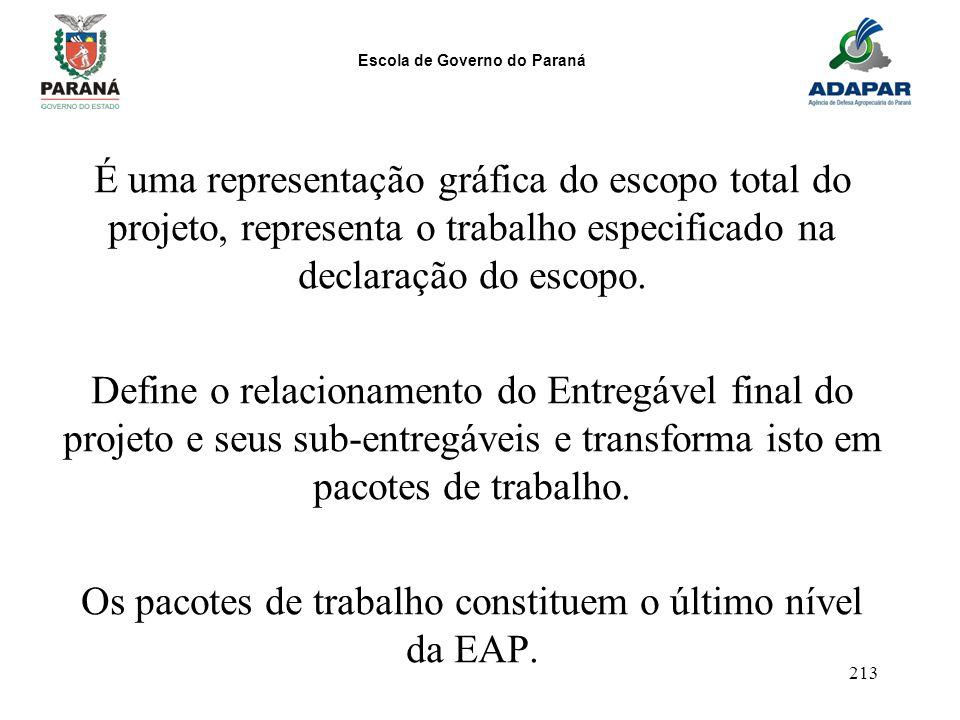Os pacotes de trabalho constituem o último nível da EAP.