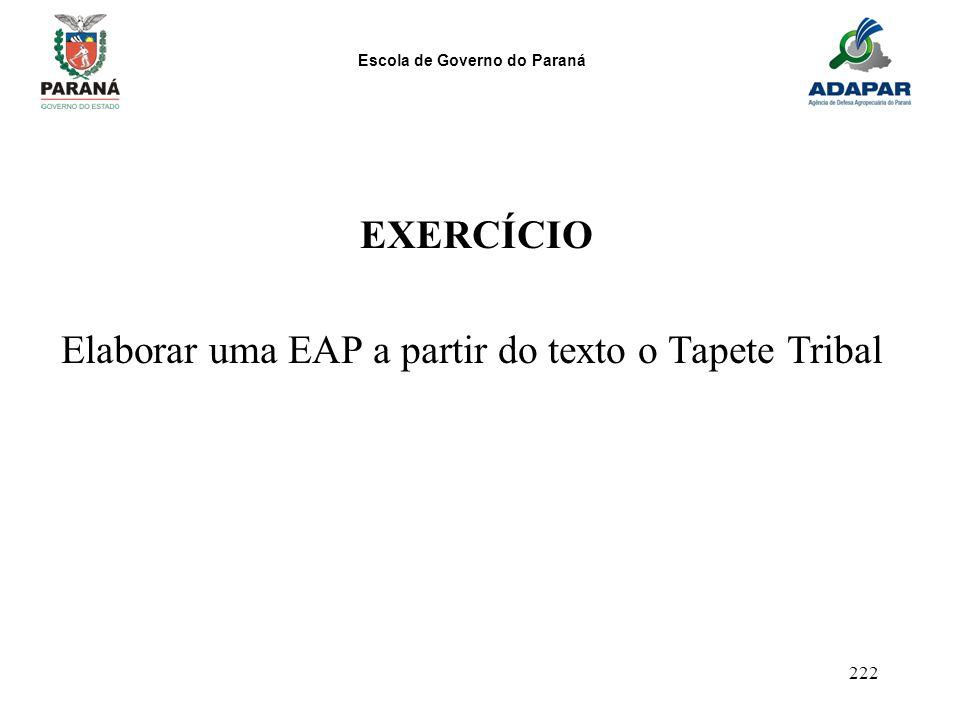 EXERCÍCIO Elaborar uma EAP a partir do texto o Tapete Tribal