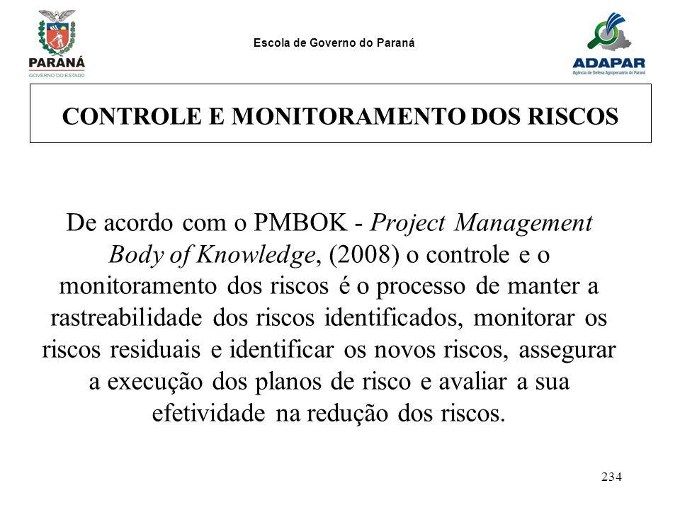 CONTROLE E MONITORAMENTO DOS RISCOS
