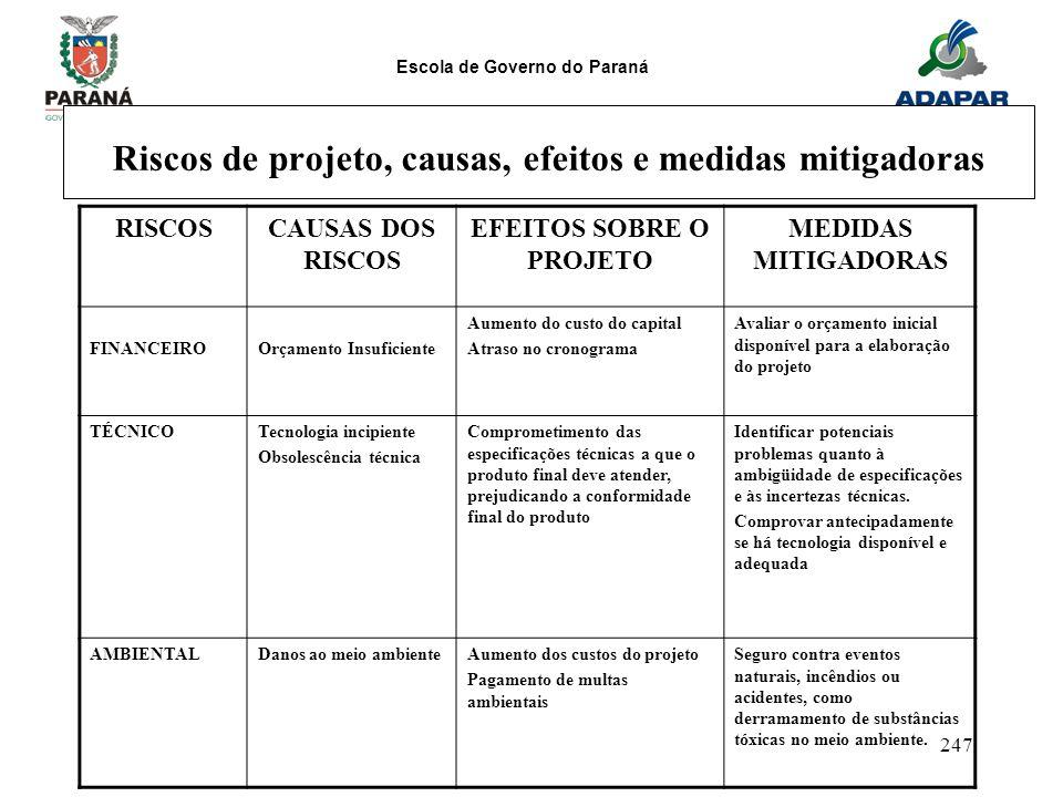 Riscos de projeto, causas, efeitos e medidas mitigadoras
