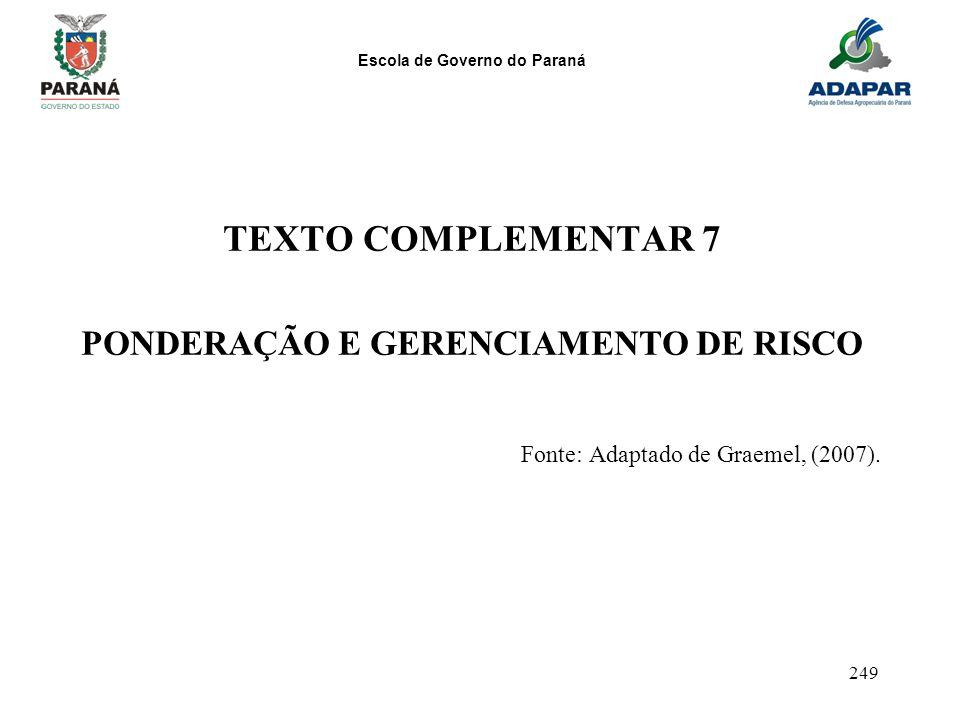 PONDERAÇÃO E GERENCIAMENTO DE RISCO