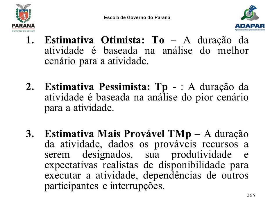 Estimativa Otimista: To – A duração da atividade é baseada na análise do melhor cenário para a atividade.